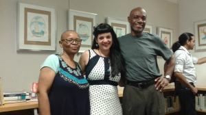 Poets Lorraine Currelley and Edward Currelley with Heritage Artist Laura Alvarez
